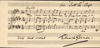 EDWARD GERMAN - AUTOGRAPH MUSICAL QUOTATION SIGNED