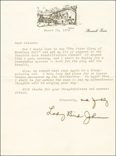 FIRST LADY LADY BIRD JOHNSON - TYPED LETTER SIGNED 03/15/1979