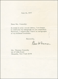 FIRST LADY BESS W. TRUMAN - TYPED LETTER SIGNED 06/16/1977