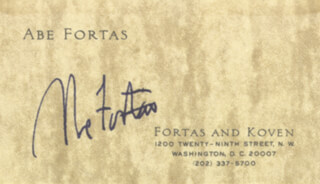 Autographs: ASSOCIATE JUSTICE ABE FORTAS - BUSINESS CARD SIGNED