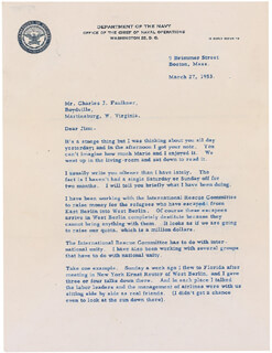 Autographs: REAR ADMIRAL RICHARD E. BYRD - TYPED LETTER SIGNED 03/27/1953