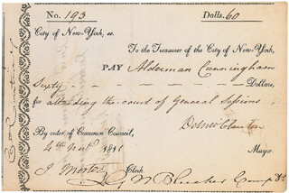 GOVERNOR DEWITT CLINTON - DOCUMENT SIGNED 11/04/1811 CO-SIGNED BY: GARRETT NOEL BLEECKER