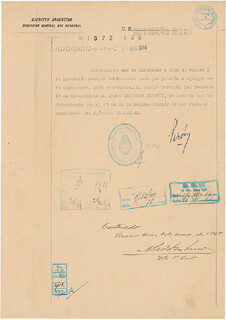 PRESIDENT JUAN D. PERON (ARGENTINA) - DOCUMENT SIGNED 12/06/1944