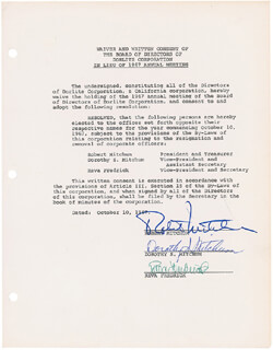 ROBERT MITCHUM - DOCUMENT SIGNED 10/10/1967 CO-SIGNED BY: DOROTHY (MRS. ROBERT MITCHUM) MITCHUM, REVA FREDERICK