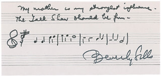 Autographs: BEVERLY SILLS - AUTOGRAPH MUSICAL QUOTATION SIGNED