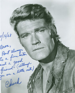 CHUCK CONNORS - AUTOGRAPHED INSCRIBED PHOTOGRAPH 11/16/1968