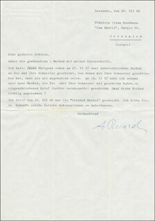 AUGUSTE PICCARD - TYPED LETTER SIGNED 12/28/1960