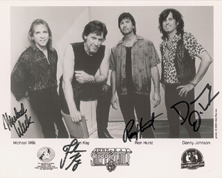 STEPPENWOLF - AUTOGRAPHED SIGNED PHOTOGRAPH CO-SIGNED BY: STEPPENWOLF (JOHN KAY), STEPPENWOLF (MICHAEL WILK), STEPPENWOLF (RON HURST), STEPPENWOLF (DANNY JOHNSON)