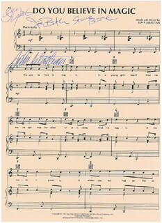 LOVIN' SPOONFUL - SHEET MUSIC SIGNED CO-SIGNED BY: LOVIN' SPOONFUL (JOHN SEBASTIAN), LOVIN' SPOONFUL (JOE BUTLER), LOVIN' SPOONFUL (STEVE BOONE), LOVIN' SPOONFUL (JERRY YESTER)