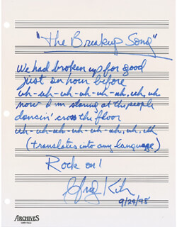 GREG KIHN - AUTOGRAPH LYRICS SIGNED 09/24/1998