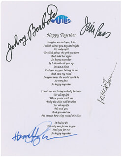 THE TURTLES - PRINTED LYRICS SIGNED IN INK CO-SIGNED BY: TURTLES, THE (MARK VOLMAN), THE TURTLES (HOWARD KAYLAN), THE TURTLES (JOHNY BARBATA), THE TURTLES (JIM PONS) - HFSID 297341