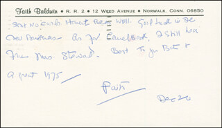 Autographs: FAITH BALDWIN - AUTOGRAPH LETTER SIGNED 12/20/1974