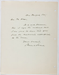 Autographs: CHARLES A. BEARD - AUTOGRAPH LETTER SIGNED 11/07