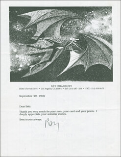 RAY BRADBURY - TYPED LETTER SIGNED 09/29/1992