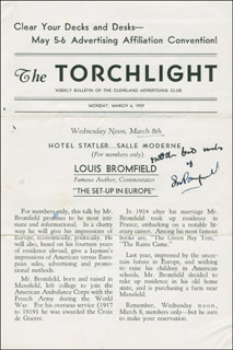 Autographs: LOUIS BROMFIELD - PROGRAM SIGNED