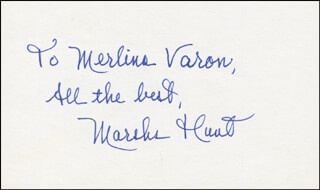 MARSHA HUNT - AUTOGRAPH NOTE SIGNED