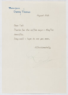 DANNY THOMAS - TYPED LETTER SIGNED 08/11