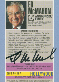 ED McMAHON - TRADING/SPORTS CARD SIGNED
