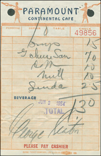 GEORGE SEATON - MEAL TICKET SIGNED 06/03/1954