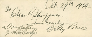 BETTY PIERCE - AUTOGRAPH NOTE SIGNED 10/29/1924