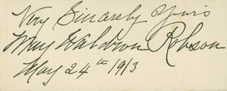 MAY MRS. STUART ROBSON WALDRON ROBSON - AUTOGRAPH SENTIMENT SIGNED 05/24/1913