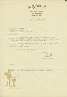 CHUCK CONNORS - TYPED LETTER SIGNED 02/27/1961