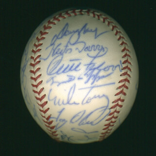 CURT FLOOD - AUTOGRAPHED SIGNED BASEBALL CO-SIGNED BY: TONY OLIVA, BOB GIBSON, HECTOR TORRES, MIKE TORREZ, DICK MULE DIETZ, BILL VIRDON, LOU BROCK, BOB WARRIOR FRIEND, BROOKS ROBINSON, SMOKY BURGESS, ROY HOWELL, BOBBY THOMSON, FRANK BOLLING, ROBIN ROBERTS, RALPH GARR, JOHNNY DOUBLE NO-HIT VANDER MEER