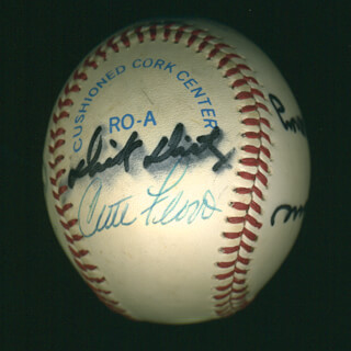 Autographs: CURT FLOOD - BASEBALL SIGNED CO-SIGNED BY: ART DITMAR, DON MONEY, JOE TORRE, DAVEY LOPES, DICK MULE DIETZ, RICK WISE