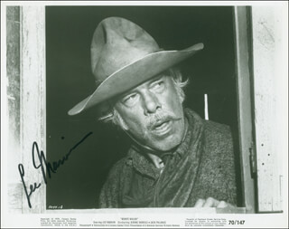 LEE MARVIN - INSCRIBED PRINTED PHOTOGRAPH SIGNED IN INK