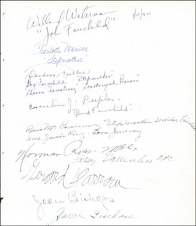 WILLARD WATERMAN - AUTOGRAPH 03/11/1942 CO-SIGNED BY: CHARLOTTE MANSON, BARBRA FULLER, CORNELIUS J. PEEPLES, BESS MCCAMMON, QUIZ KIDS (JOAN BISHOP), HARVE (HARVE FISCHMAN) BENNETT, GERARD DARROW, NORMAN ROSS