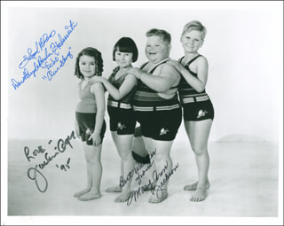 OUR GANG MOVIE CAST - AUTOGRAPHED SIGNED PHOTOGRAPH 1995 CO-SIGNED BY: JACKIE COOPER, MARY ANN JACKSON, DOROTHY DEBORBA