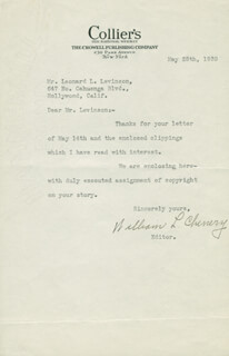 WILLIAM L. CHENERY - TYPED LETTER SIGNED 05/25/1939