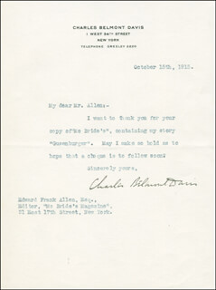 CHARLES BELMONT DAVIS - TYPED LETTER SIGNED 10/15/1915