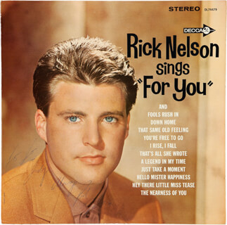 RICK NELSON - INSCRIBED RECORD ALBUM COVER SIGNED