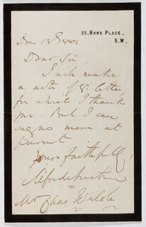 ALFRED AUSTIN - AUTOGRAPH LETTER SIGNED 12/18/1882