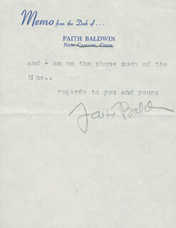 FAITH BALDWIN - TYPED NOTE SIGNED