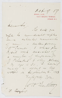 WILLIAM HENRY BARTLETT - AUTOGRAPH LETTER SIGNED 10/09/1889