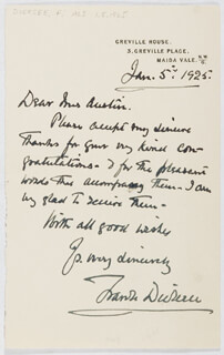 FRANK DICKSEE - AUTOGRAPH LETTER SIGNED 01/05/1925