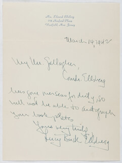 LUCY BUCK ELLSBERG - AUTOGRAPH LETTER SIGNED 03/14/1942