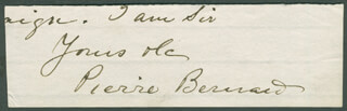 PIERRE BERNARD - AUTOGRAPH SENTIMENT SIGNED