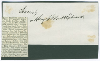 HARRY STILLWELL EDWARDS - AUTOGRAPH SENTIMENT SIGNED