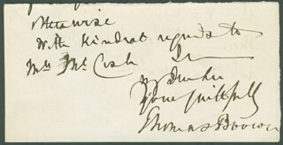 Autographs: THOMAS BROWN - AUTOGRAPH NOTE SIGNED