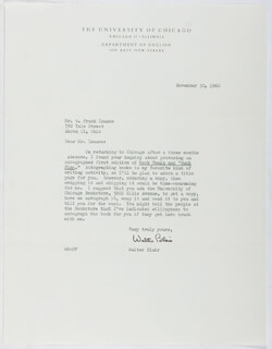 WALTER BLAIR - TYPED LETTER SIGNED 11/30/1960