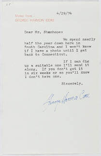 GEORGE HARMON COXE - TYPED LETTER SIGNED 04/29/1974