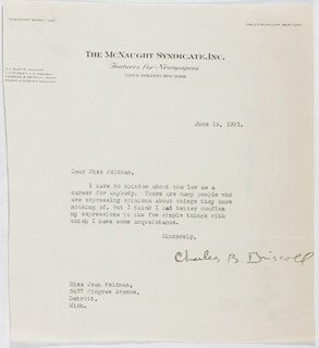 CHARLES B. DRISCOLL - TYPED LETTER SIGNED 06/19/1931