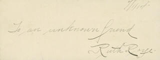 RUTH ROYE - AUTOGRAPH SENTIMENT SIGNED 07/01/1914