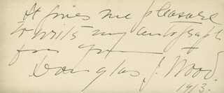 DOUGLAS J. WOOD - AUTOGRAPH NOTE SIGNED 1913