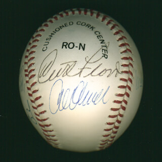 CURT FLOOD - AUTOGRAPHED SIGNED BASEBALL CO-SIGNED BY: VIRGIL TRUCKS, AL MR. SCOOP OLIVER, DALE LONG, MANNY MOTA, WILLIE STARGELL, MICKEY VERNON