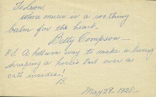 THE BARKER MOVIE CAST - AUTOGRAPH LETTER SIGNED 05/29/1928 CO-SIGNED BY: BETTY COMPSON, SYLVIA ASHTON