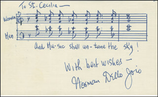 NORMAN DELLO JOIO - AUTOGRAPH MUSICAL QUOTATION SIGNED